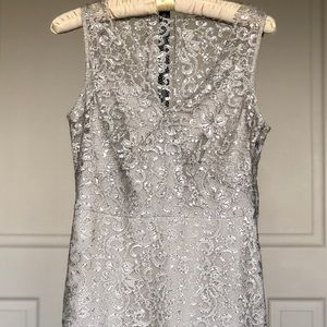 Luxurious BCBG lace silver dress size 4